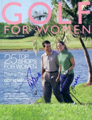 Dan Jansen & Karen Palacios-Jansen autographed Golf for Women magazine cover