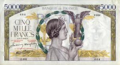 Paper Money France 5000 Francs - 1942 issue