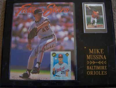 Mike Mussina autographed Baltimore Orioles magazine cover &amp; 1992 Upper Deck card in plaque