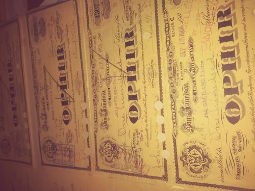1908 Ophir Silver Mining Stock Certificates 4