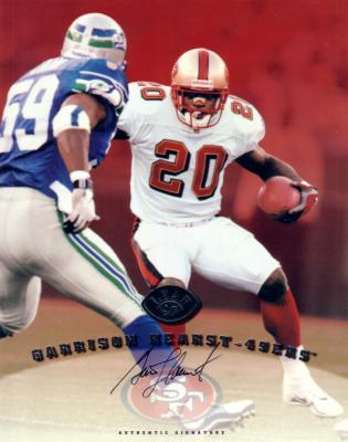 Garrison Hearst certified autograph 49ers 1997 Leaf 8x10 photo card