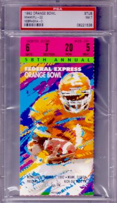 1992 Orange Bowl ticket stub PSA 7 Miami Hurricanes National Champions