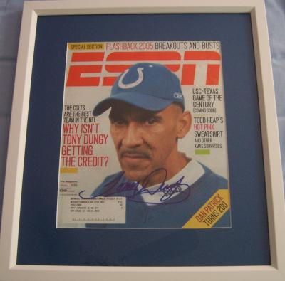 Tony Dungy autographed Colts ESPN Magazine cover matted & framed