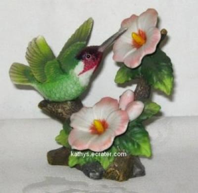 Ceramic China Ruby Hummingbird on Flowers Bird Figurine