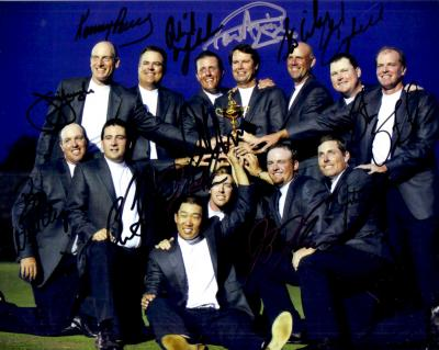 2008 US Ryder Cup Team autographed 8x10 photo (Paul Azinger Phil Mickelson)