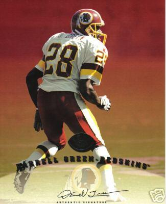 Darrell Green certified autograph Washington Redskins 1997 Leaf Signature 8x10 photo card