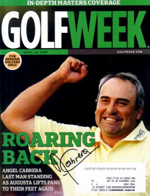 Angel Cabrera autographed 2009 Masters Golf Week magazine