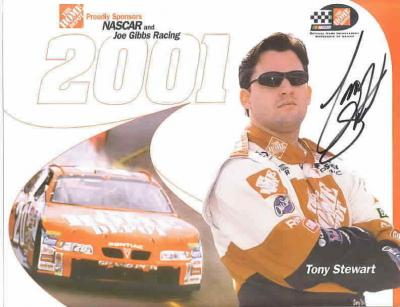 Tony Stewart (NASCAR) autographed 8 1/2 by 11 Home Depot photo