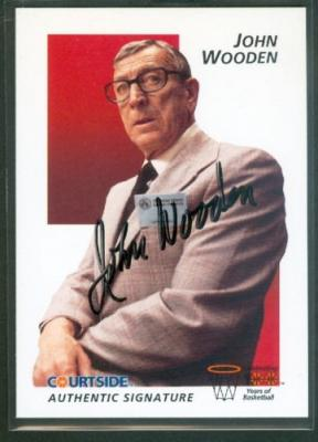 John Wooden certified autograph UCLA 1992 Courtside Flashback card