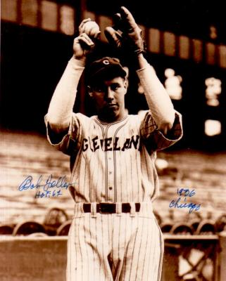 Bob Feller autographed Cleveland Indians 8x10 photo inscribed HOF 62 &amp; 1936 Chicago