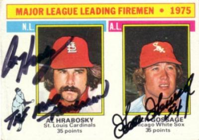 Goose Gossage &amp; Al Hrabosky autographed 1976 Topps Leaders card