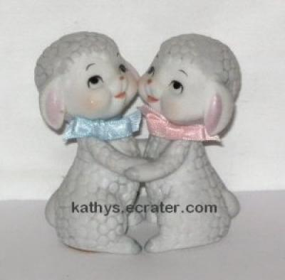 Enesco Taiwan Hugging Lambs Boy and Girl Animal Figurine