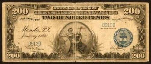 Banknotes; 1928 US Philippines 200 Pesos BPI Banknote