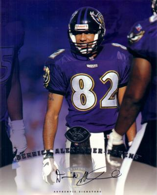 Derrick Alexander certified autograph Baltimore Ravens 1997 Leaf 8x10 photo card