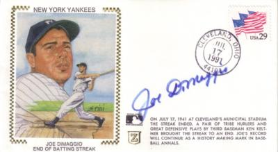 Joe DiMaggio autographed New York Yankees Hit Streak cachet envelope