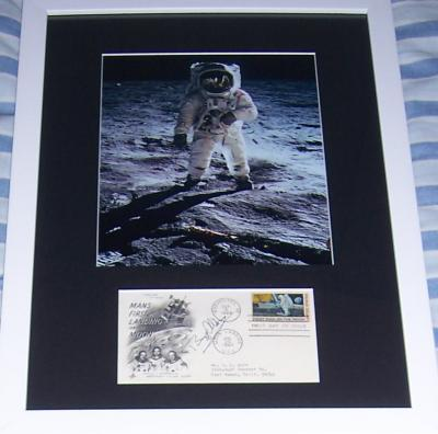 Buzz Aldrin autographed Apollo 11 cachet matted & framed with 8x10 photo