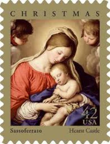 Stamps US; Two Xmas stamps, USA. Posted by Hall of Stamps