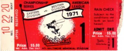 1971 Baltimore Orioles American League Championship Series (ALCS) Game 1 ticket stub