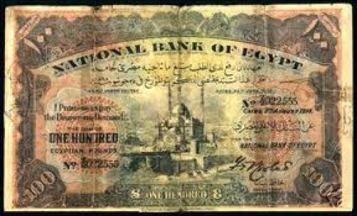 Banknotes; 100 pounds; EGYPT Banknotes, National Bank of Egypt 1912-45 Issues