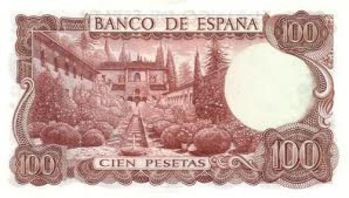 Banknotes, Spain /  100 Pesetas ; Back image