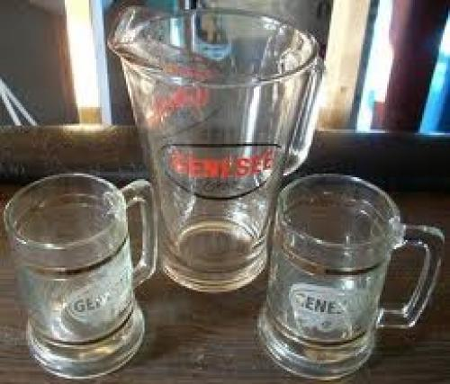 Vintage Barware Breweriana Genesee Pitcher w Glass