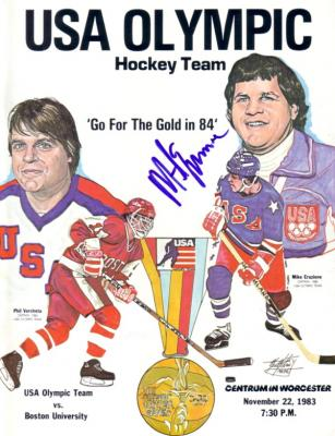 Mike Eruzione autographed 1983 USA Olympic Hockey Team exhibition program