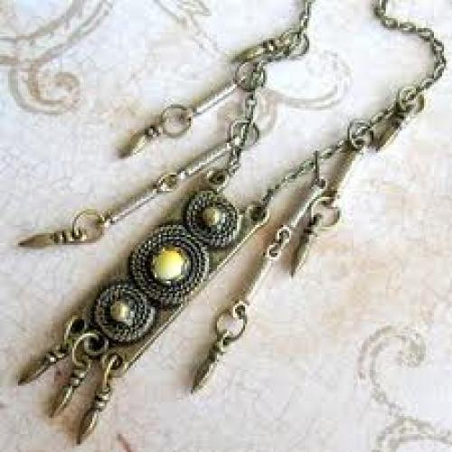 Jewelry; Handmade Jewelry - Vintage Brass Pendant Necklace