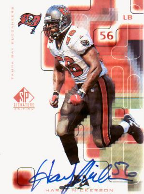 Hardy Nickerson certified autograph Tampa Bay Buccaneers 1999 SP Signature card