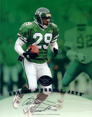 Adrian Murrell certified autograph Jets 1997 Leaf 8x10 photo card