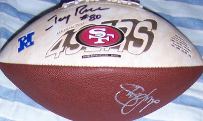Jerry Rice &amp; Steve Young autographed San Francisco 49ers logo football