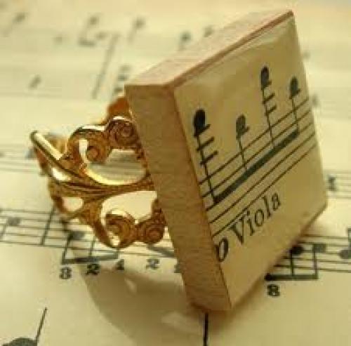 Jewelry; Music Scrabble Tile Filigree Ring
