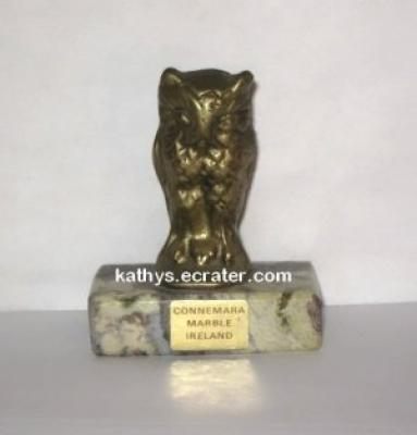 Paperweight: Connemara Marble Ireland Brass Owl Bird