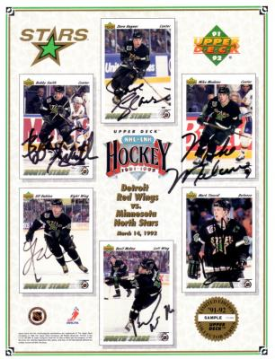 1991-92 Minnesota North Stars autographed Upper Deck card sheet (Mike Modano)