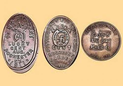 Coins; Lucky Cent' swastika coins from USA. Late 1800's/ early 1900's