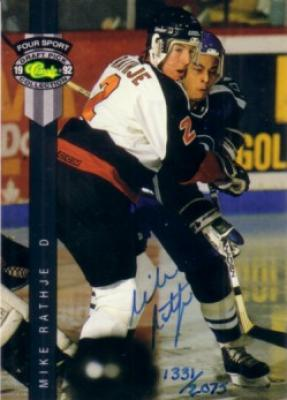 Mike Rathje certified autograph 1992 Classic card
