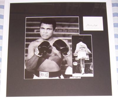 Muhammad Ali autograph framed with vintage boxing photo