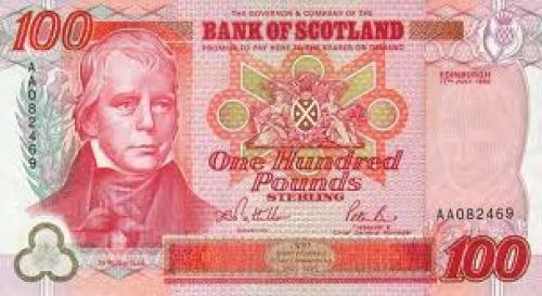 Banknotes 100 Pounds Scotland United Kingdom