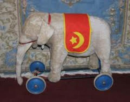 Vintage 1950&#039;s Steiff Elephant on Wheels Stuffed Animal Riding Toy