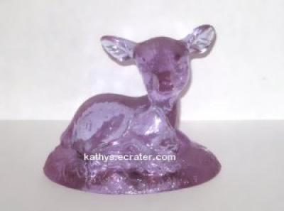 Boyd Glass Lavender Laying Deer Animal Figurine