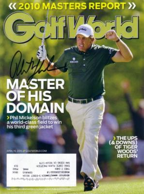 Phil Mickelson autographed 2010 Masters Golf World magazine