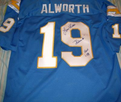 Lance Alworth autographed San Diego Chargers authentic throwback jersey inscribed Bambi