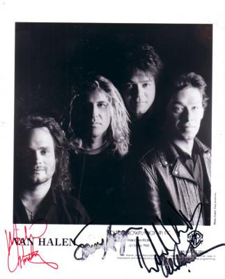 Van Halen autographed 8x10 photo (Michael Anthony Sammy Hagar Alex Van Halen Eddie Van Halen)