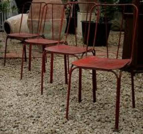 Antique; Set of 4 iron garden chairs, 1940's