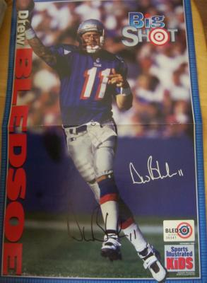 Drew Bledsoe autographed New England Patriots SI for Kids mini poster