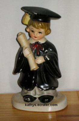 People: #2791 Lefton China 5 inch Graduation Girl in Black Gown Figurine