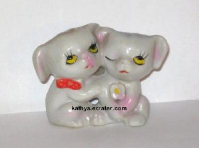 Miniature Japan 2 Hugging Puppies Dog Animal Figurine