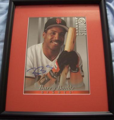 Barry Bonds autographed San Francisco Giants 8x10 photo card matted &amp; framed