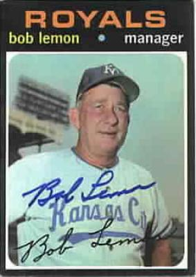 Bob Lemon autographed Kansas City Royals 1971 Topps card
