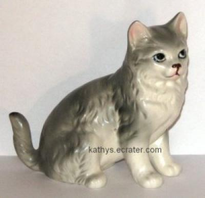 ESD Japan Porcelain Gray Tabby Cat Animal Figurine