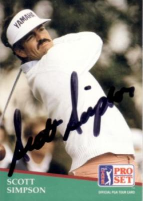 Scott Simpson autographed 1991 Pro Set golf card